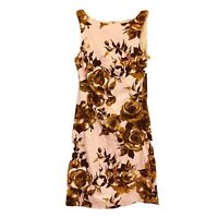 Review Womens Pink/Beige Floral Sleeveless Dress with Back Zipper Size 12
