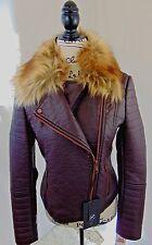 Marc New York NWT Womens S Bomber Jacket Side zip pockets zip Faux fur