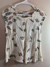 Odille Anthropology Leaf Print Sleeveless Top SZ 0