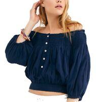 Free People Women's Shirt Blue Small S Dancing Til Dawn Smock Crop Top $78- #067