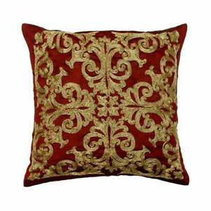 """Decorative 18""""x18"""" Red Art Silk Throw Pillow Cover, Geometric - Admirable"""