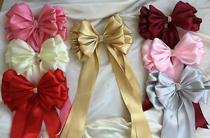 """Large 10"""" Satin Ribbon bow with tails jeweled centre Crib bows"""