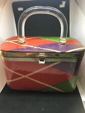 Midcentury Clear Lucite Handle Handbag Clear Vinyl Covers Multicolored Fabric