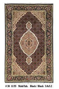 Handmade Area Rug 3' x 5' Mahi Silk Wool Black (157 x 91 cm) Lowest Price Rug