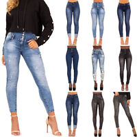 WOMENS HIGH WAISTED JEANS LADIES STRETCH HIGH RISE SKINNY PANTS SIZE 6-14
