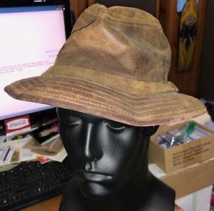Vintage LL Bean Men's Brown Leather Safari Fishing Camping Bucket Hat Large #W