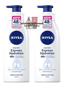 2 x Nivea EXPRESS HYDRATION 48h Fast Absorbing Moisturising Serum Lotion 400ml