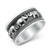 "Sterling Silver 925 ""ELEPHANT"" DESIGN RING SIZES 6-12"