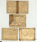 Group of 4 rare colonial era paper money: Continentals, Maryland, South Carolina