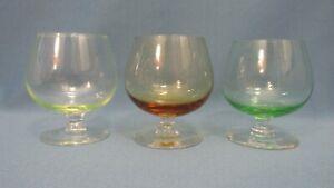 (3) CORDIAL/LIQUOR GLASSES ~  brandy snifter style, 3 fl oz, green, amber, topaz