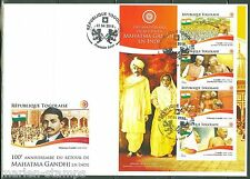 TOGO 2015 100th ANNIVERSARY OF THE RETURN OF MAHATMA GANDHI TO INDIA SHEET  FDC