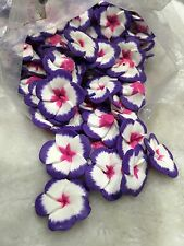 20Pcs Purple White&pink Fimo polymer Clay Flowers Flat Back With Hole 2.5cm