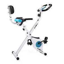 Klarfit Azura Pro Bicycle Trainer Blue White Exercise Bike W. Backrest & Handles