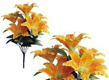"""7-Orange Rubrum Lily 22"""" Bouquet Wedding Bridal Home Decor Poly Silk Flower Leaf"""