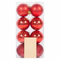 Christmas Tree Glitter Baubles Decor - Red Hanging Tree Ornament 8 Pack (6 cm)