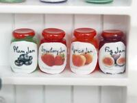 1/12 Dolls House Miniature Kitchen Food Mix Flavor Fruit Jam Jars 4 Bottles