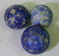 #11383m Vintage Group of 3 Larger German Blue Bennington Marbles 1.09 to 1.19 In