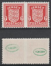 GB Jersey 3686 - 1941 ARMS 1d IMPERF BETWEEN horiz pair FORGERY unmounted mint