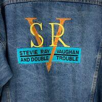 VTG Stevie Ray Vaughan Double Trouble Blue Denim Jacket Men's Size Large