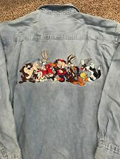 1996 Vintage Warner Bros. Looney Tunes Bugs Taz Button Down Shirt Mens Medium