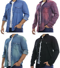 Mens Shirt Denim Casual Chambray Long Sleeve Big & Tall S-6XL Sizes Regular Fit
