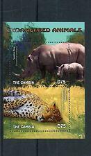 Gambia 2014 MNH Endangered Animals 2v S/S Sumatran Rhino Amur Leopard