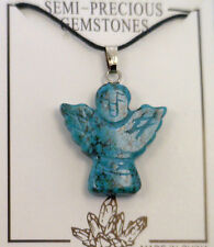 (Semi Precious Blue-Green Turquoise Gemstone) Angel Pendant with Black Cord