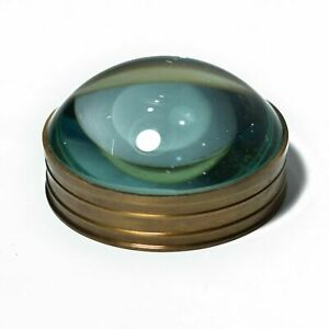 Handmade Solid Vintage Brass Magnifying Round Glass Paper Weight