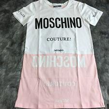 Women's Dress T Shirt Cotton Short Sleeve Pink White Characters Long (Size M)