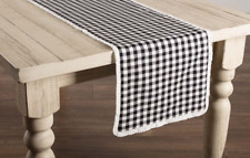 "Black and White Check Cotton 36"" Table Runner"