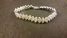 *UK* 925 Silver pltd Crystal Diamante  Bridal prom party Tennis Bracelet 1058