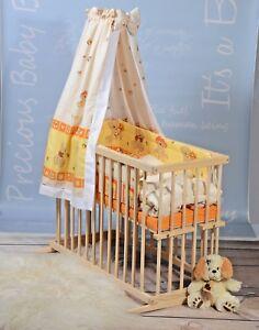 Beistellbett Set Stubenwagen Babywiege Gitterbett KOMPLET Bettwäsche Matratze