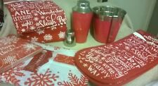 BRAND NEW GORGEOUS CHRISTMAS THEMED RED AND WHITE 6 PIECE KITCHEN BARGAIN BUNDLE