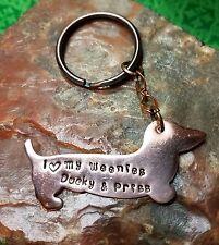 I Love My Weenie - Stamped Personalized Dachshund Weenie Dog, Doxie, Key Ring