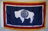 3x5 Wyoming State Poly Nylon Sleeve w/ Gold Fringe Flag 3'x5' Banner