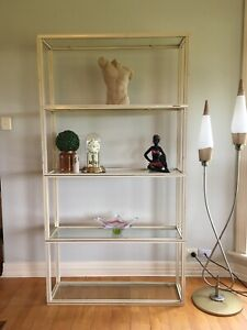Vintage Pierre Vandel Paris Shelves Shelving Wall Unit Cream & Gold