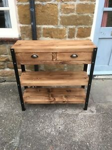 Bespoke H80x W63x D30cm industrial steel console hall table drawers 2 shelves