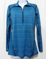 REI Co-op Base Layer Half-Zip Top Pullover Womens M Blue Striped