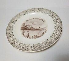 """Glacier National Park Vintage ENCO 9"""" Japan Porcelain Plate 22k gold edging"""