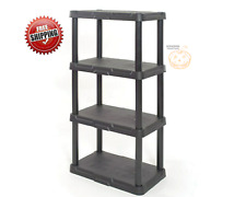 4-Tier Plastic Freestanding Shelving Unit Storage Organizing Shelf Garage Black