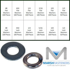 18-8 / 304 Stainless Steel Flat Washer & Split Ring Lock Washers Assortment Kit
