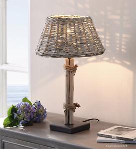 """Tischlampe Treibholz Lampe """"Strandhuus"""" Lampenschirm Vollweide H.47 Ø 30 cm"""