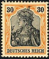 ALLEMAGNE / GERMANY - 1905 - GERMANIA (III) 30pf (Friedensdruck) Mi.89 Ix Mint*