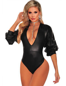 SEXY Vinyl Faux Leather SAUCY Teddy with Ruffle Sleeve Top 8 10 12 14 16 18 20