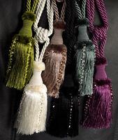 PAIR of CAMEO Design Beaded Tassel Curtain Tiebacks Holdbacks 6 Colours