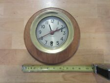 """Vintage 5 1/4"""" Brass Chelsea Clock Nautical on wall base with key"""