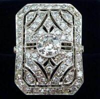 Vintage Victorian Edwardian Engagement Bezel Set 1 Ct White CZ Ring Circa 1905's