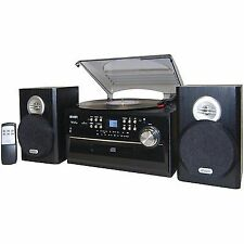 Jensen Record Player Turntable With Speakers 3 Speed CD Cassette Stereo System