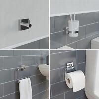 Bathroom Set Wall Mounted Tumbler Robe Hook Towel Ring Toilet Roll Holder Chrome