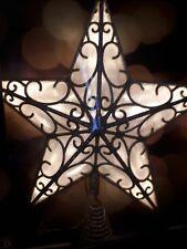 Gold Glitter Christmas Tree Topper LED Star Decoration 30cm Warm White light